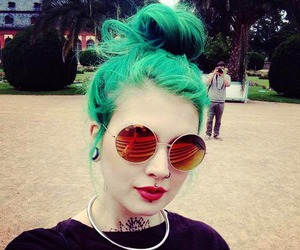 hair, green, and piercing image