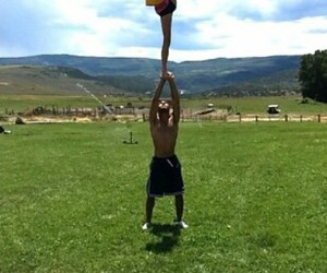 cheer, flyers, and scenery image