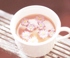 flowers, tea, and cup image