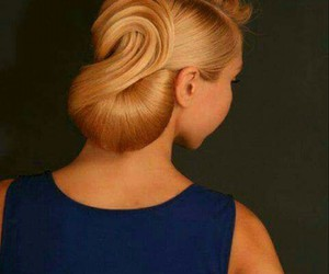 chignon, blond, and hair image