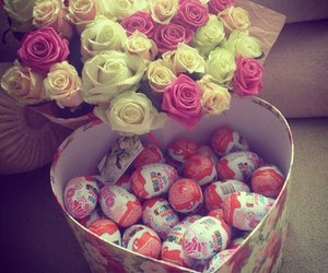 chocolate, kinder, and roses image