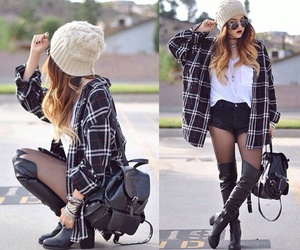 outfit, beanie, and boots image
