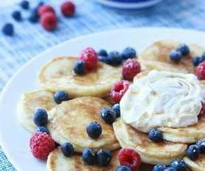 pancakes, blueberries, and breakfast image
