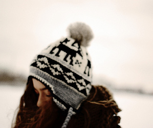 girl, snow, and hat image