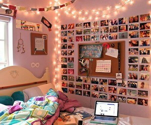 lights, girly room, and room decorete image