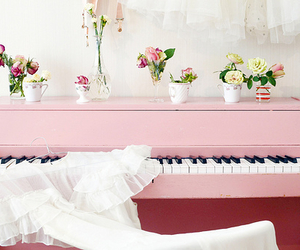 piano, pink, and flowers image