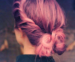 hair, hairstyle, and pink image