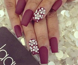 nails, flowers, and red image