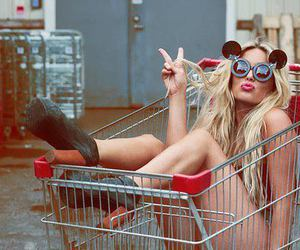 girl, mickey mouse, and shopping cart image