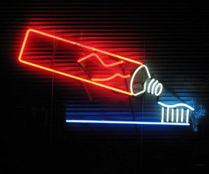 neon lights, tooth paste, and brush your teeth image