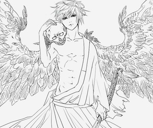 angel, boy, and black and white image