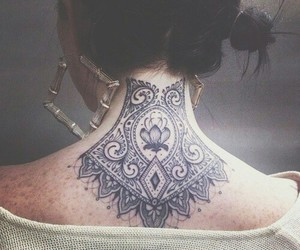 tattoo, girl, and neck image