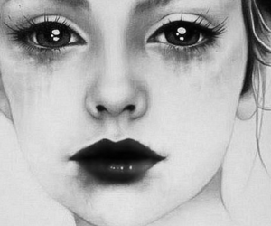 art, black and white, and crying image