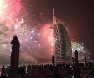 Dubai, city, and fireworks image