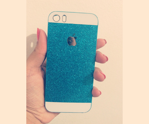 blue, glitter, and iphone image