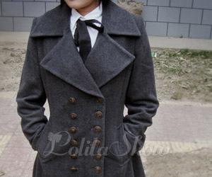 fashion, grey, and overcoat image