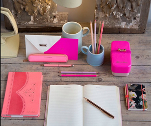 desk, notebook, and pink image