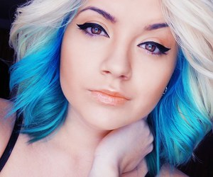 hair, blue, and eyeliner image