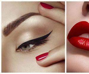 makeup, lips, and eyeliner image
