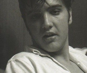 black and white, Elvis Presley, and music image