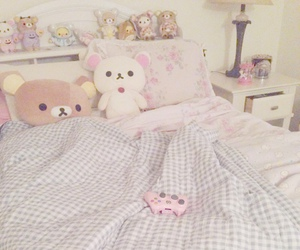 bed, blanket, and girly image