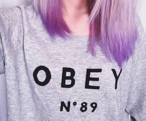 blogger, obey, and purple hair image