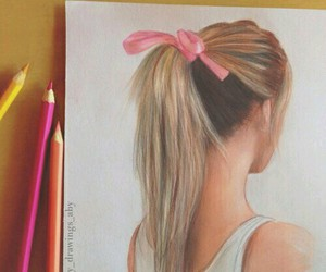 hair, drawing, and girl image