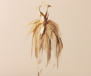 dress, gold, and art image