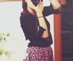floral skirt, camera, and girl image