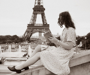 book, dress, and eiffel tower image