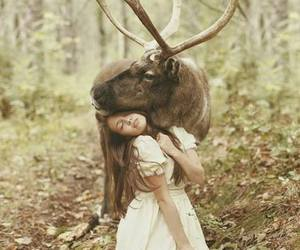 girl, animal, and forest image