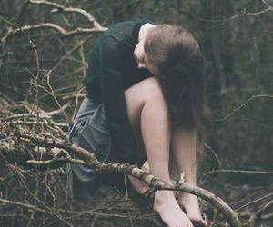 alone, girl, and forest image