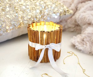candle, diy, and cinnamonsticks image