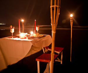 beach, romantic, and dinner image