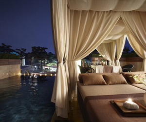 luxury, bed, and pool image
