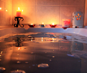 bath, candle, and water image