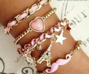 bracelets, girly, and pink image