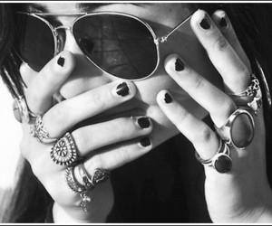girl, rings, and sunglasses image