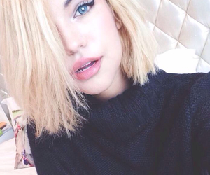 blonde, indie, and lipstick image
