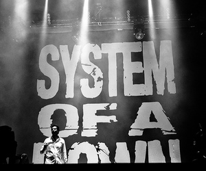 system of a down, soad, and black and white image