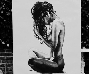 bw, drawing, and girl image