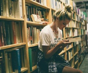 book, girl, and library image