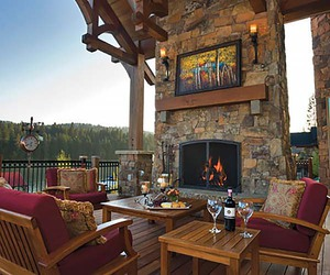 fireplace, outdoor living, and inspiration image