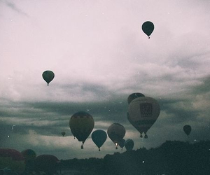 sky, balloons, and vintage image