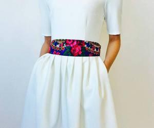 belt, dress, and white dress image
