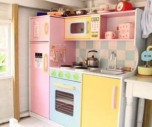 blue, kitchen, and pink image