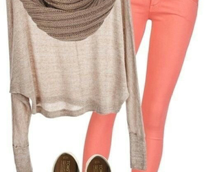 outfit, jeans, and scarf image