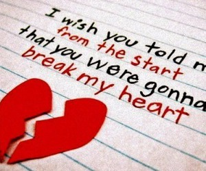 broken, heart, and message image