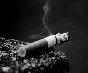 black and white, text, and cigarette image