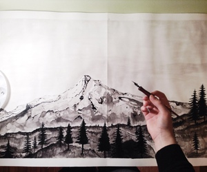 art, black and white, and mountain image